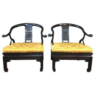 Chinese Rosewood Horseshoe Chow Chairs, 1920s - A Pair