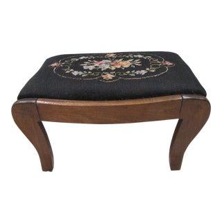 Vintage Needlepoint Upholstered Wood Footstool