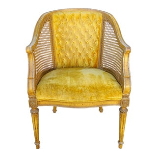Vintage Hibriten Goldenrod Cane Barrel Chair