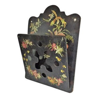 Victorian Tole Painted Papier Mache Wall Mounted Letter Holder