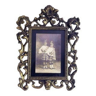 Vintage Art Nouveau Cast Iron Picture Frame
