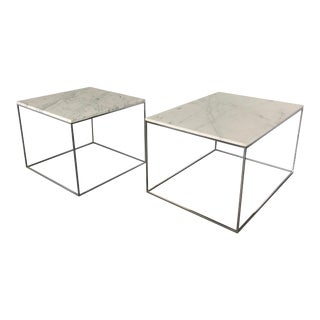 Milo Baughman for Thayer Coggin Chrome & Marble Ocassional Tables - A Pair