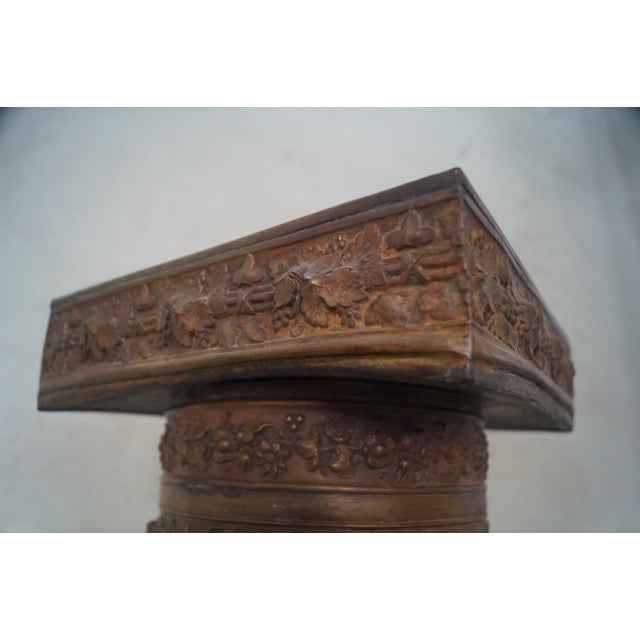 Image of 19th Century Brass Relief Neo Classical Pedestal