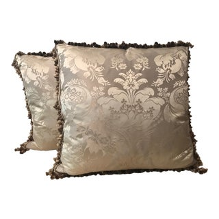 Ebanista Silk Damask Pillows Backed in Creme Silk Velvet .