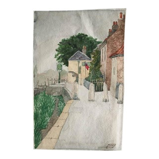 'Village' Original Signed Watercolor Painting by Frank Sully