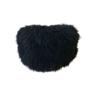 Black Icelandic Sheepskin Pouf