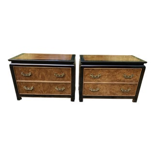 Century Chinoiserie Chin Hua Burl Wood Night Stands / Short Dressers - a Pair