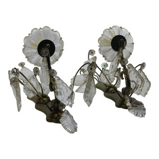 "19th Century French Bronze Cut Crystal ""Louis XV"" Style Sconces - A Pair"