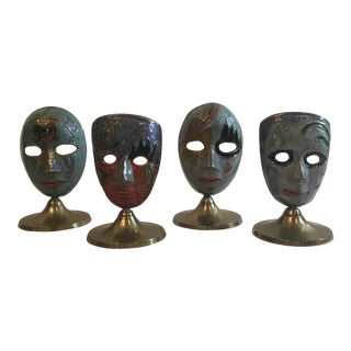 Brass Hand Painted Theater Masks - Set of 4