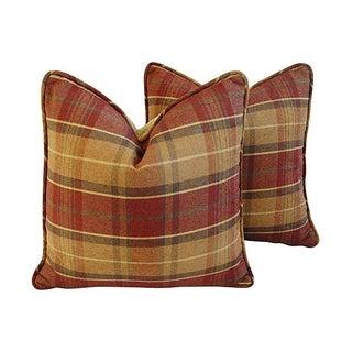 Custom Caramel &Wine Plaid Chenille Pillows - Pair