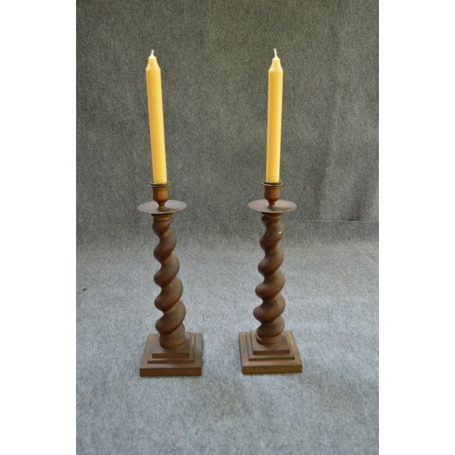 Vintage Brass Candlesticks - Pair - Image 5 of 8