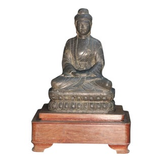 Seated Stone Buddha in Wooden Base