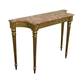 Quality French Louis XVI Style Gilt & Marble Top Console Table