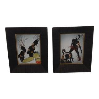 1950s Irina Lorin Framed Ceramic Art Tiles - A Pair