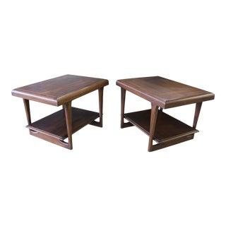 Danish Mid Century Modern Walnut Tapered Leg End Tables - a Pair