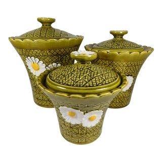 Green Daisy Pottery Canisters- Set of 3