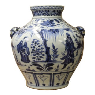 Chinese Blue White Porcelain People Scenery Foo Dog Accent Vase Jar