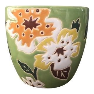 Green & Peach Floral Vase