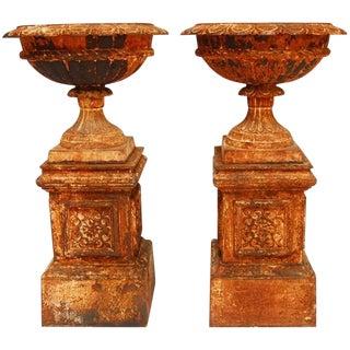 French Cast Iron Garden Urns - A Pair