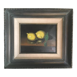 Old Master Type Oil Painting of Lemons on Canvas
