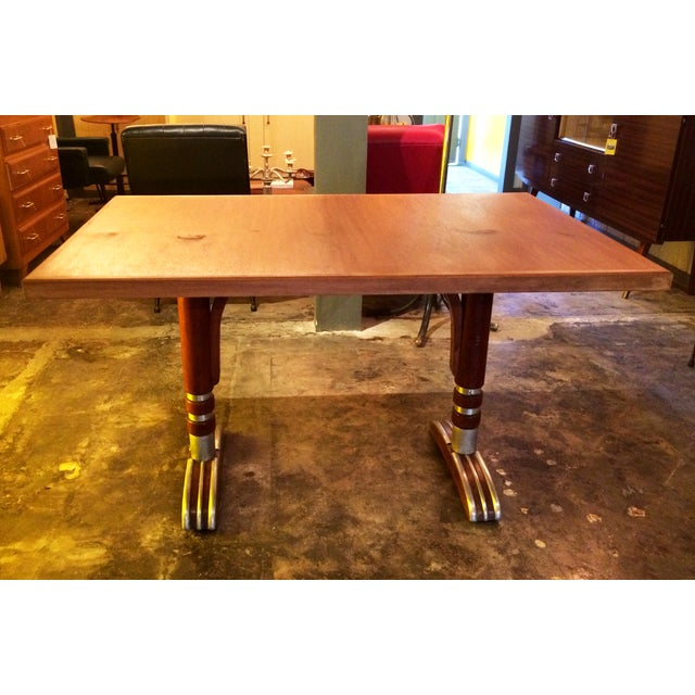 Vintage French Art Deco Bistro Dining Table - Image 3 of 8
