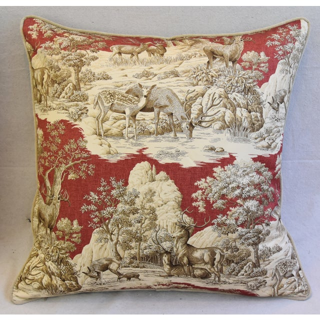 Custom Woodland Toile Deer & Velvet Pillows - a Pair - Image 5 of 10