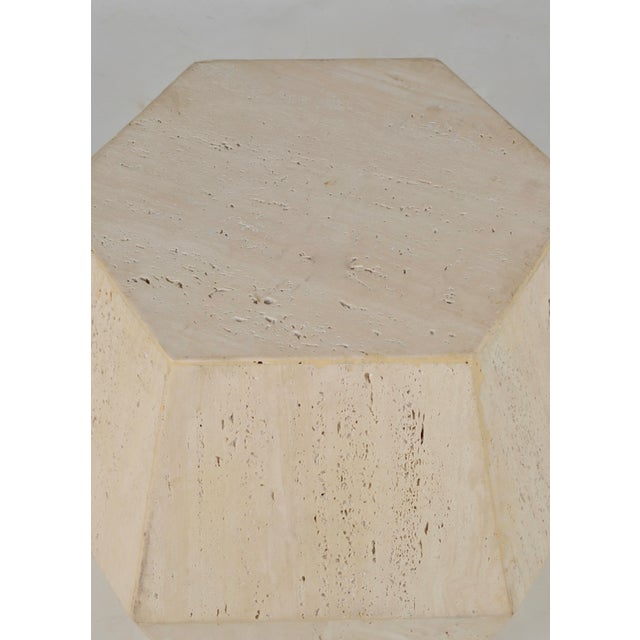Travertine Marble Polygon Cocktail Table - Image 3 of 6