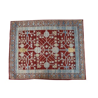 "Small Turkish Multi Color Geometric Rug - 3'2"" X 3'11"""