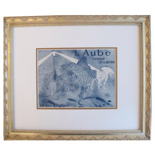 Framed 1950 Toulouse Lautrec L'Aube Poster