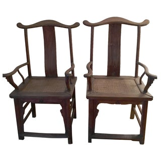 Antique Asian Cane Seat Armchairs- A Pair