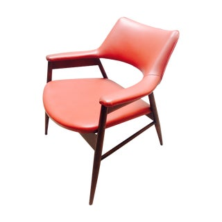 Vinyl Burgundy Mid Century Lounge Arm Chair
