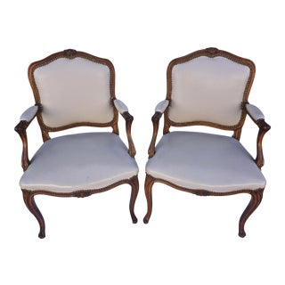 Leather Kravet Embroidered Bergere Arm Chairs - a Pair