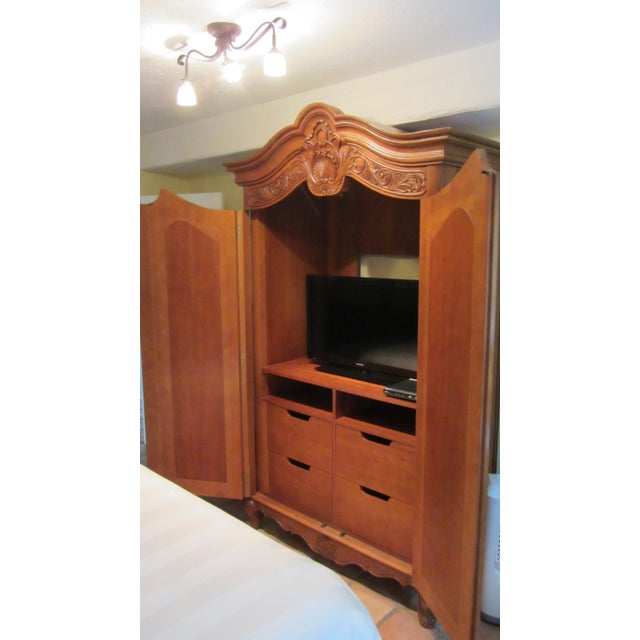 Traditional Carved Cherry Armoire - Image 5 of 9