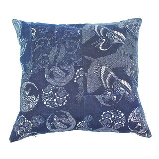 Antique Indigo Katazome Pillow