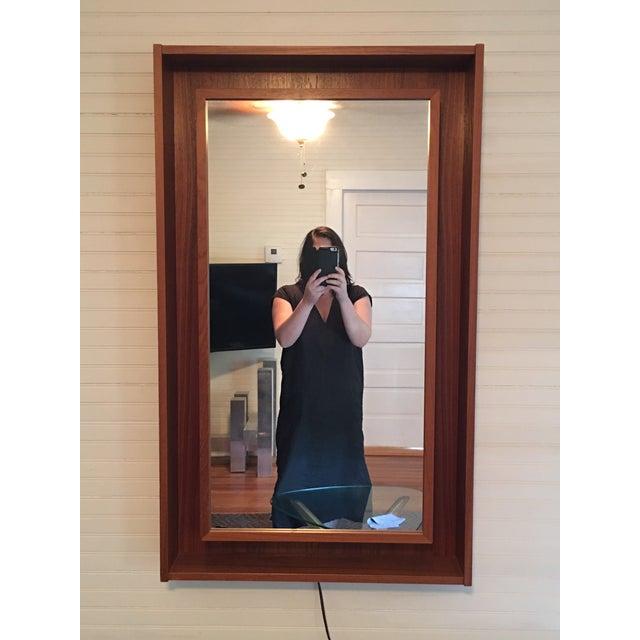 Image of Backlit Teak Framed Mirror by Pedersen & Hansen
