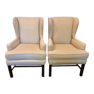 Beige American Wingback Chairs - A Pair