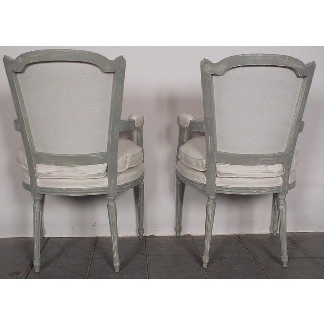 Image of French Painted Louis XVI Armchairs - A Pair