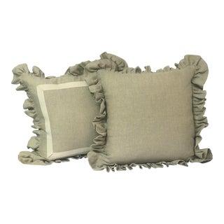 Natural Linen Ruffled Pillows - A Pair