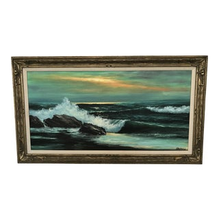 "Extra Large Vintage Oil on Canvas California Seascape Painting, Signed ""Samos"""