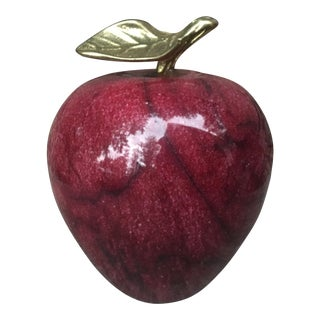 Vintage Red Marble Apple With Brass Stem