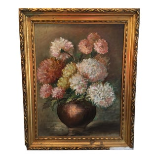 Vintage Chrysanthemums Botanical Painting