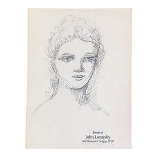 Vintage Original Female Portrait Sketch
