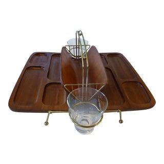 Mid-Century Modern Wooden Dual Desk or Bar Caddy