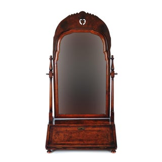19th Century Carved Walnut Shaving Mirror