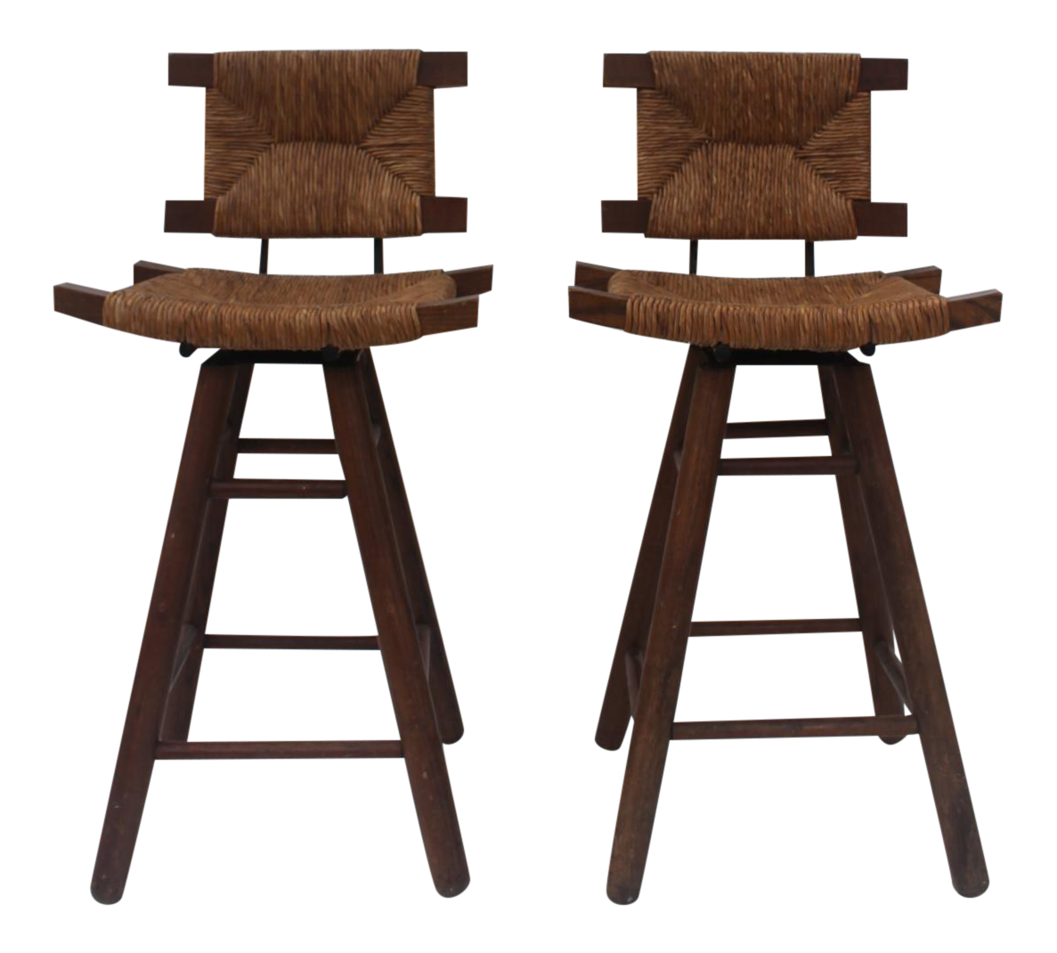 French Country Wood Amp Rush Seat Swivel Bar Stools A Pair