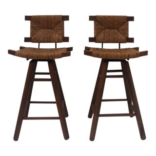 French Country Wood & Rush Seat Swivel Bar Stools - A Pair