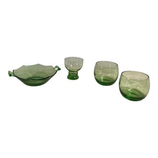 Mid-Century Modern Lime Neon Green Glassware - Set of 4