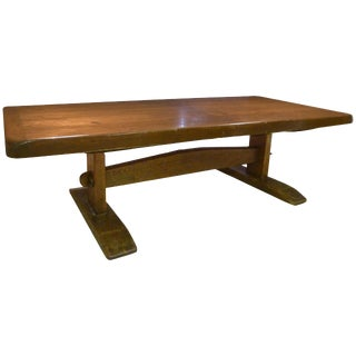 Monumental Long Early American Solid Pine Trestle Farm Table