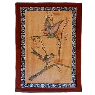 19th-C. Indian Painting of Birds on Cloth