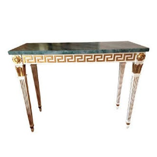 French Console With Gold Greek Key Pattern